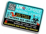 ZOMBIE HUNTER LICENCE Funny VINYL Car Van Bumper Window Sticker Decal JDM  - Blue 125x85mm